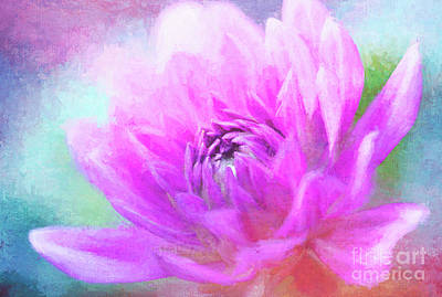 Photograph - Joyful Painted Pink Dahlia by Anita Pollak