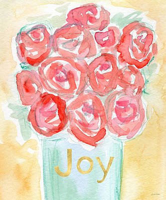 Pink Cards Painting - Joyful Roses- Art By Linda Woods by Linda Woods