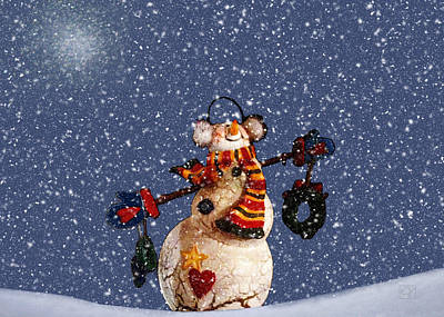Digital Art - Joyful Snowman by Jean Moore