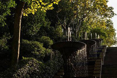 Photograph - Joyful Sunny Splashes - A Blue And Yellow Cascade In Montjuic Park Barcelona Spain by Georgia Mizuleva