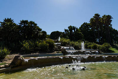 Photograph - Joyful Sunny Splashes - Jardins Del Mirador Fountains In Montjuic Park Barcelona Spain by Georgia Mizuleva