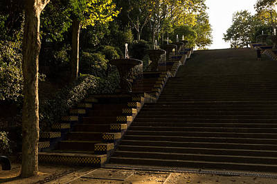 Photograph - Joyful Sunny Splashes - Wide Steps And Blue And Yellow Cascades - Montjuic Park Barcelona Spain by Georgia Mizuleva