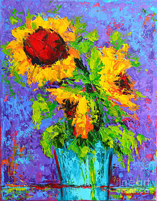 Painting - Joyful Trio - Sunflowers Still Life - Modern Impressionistic Art - Palette Knife by Patricia Awapara