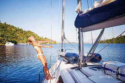 Photograph - Joyful Woman On Sailboat by Anna Om