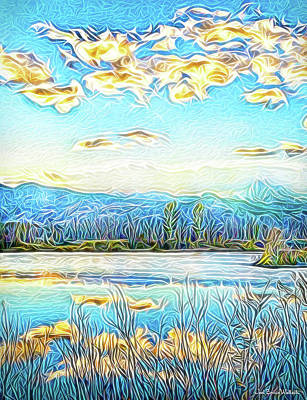 Digital Art - Joyous Blue Reflections by Joel Bruce Wallach