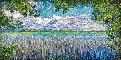 Digital Art - Lake Trees Clouds - Boulder County Colorado by Joel Bruce Wallach