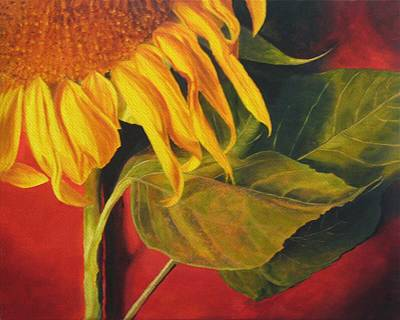 Print featuring the painting Joy's Sunflower by Marina Petro