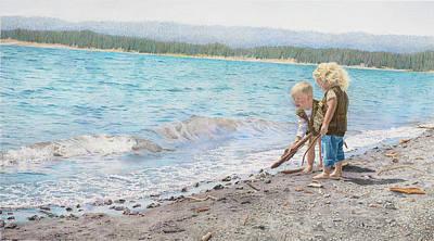 Beach Landscape Drawing - Jr. Rangers At Yellowstone Lake by Ruth Johnson
