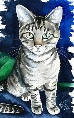 Painting - Jr - Tabby Cat Painting by Dora Hathazi Mendes