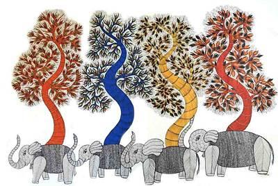 Japani Shyam Painting - Js 181 Tree Of Life With Elephants by Japani Shyam
