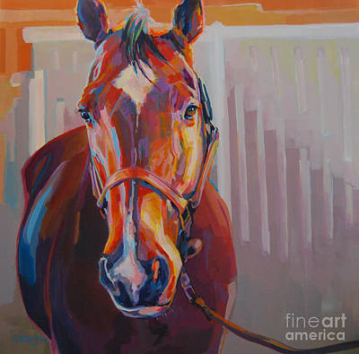 Bay Thoroughbred Horse Painting - JT by Kimberly Santini