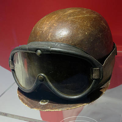 Photograph - Juan Manuel Fangio Helmet And Racing Goggles Museo Ferrari by Paul Fearn