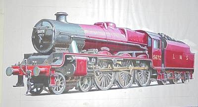 Drawing - Jubilee 4-6-0  by Mike Jeffries
