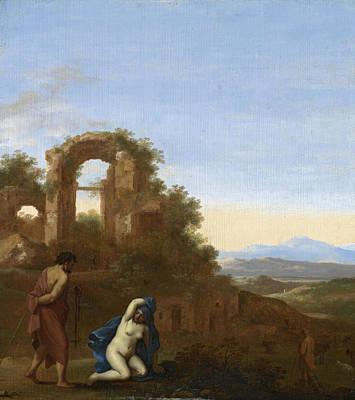 Judah Painting - Judah And Tamar In An Italianate Landscape by Cornelis van Poelenburgh