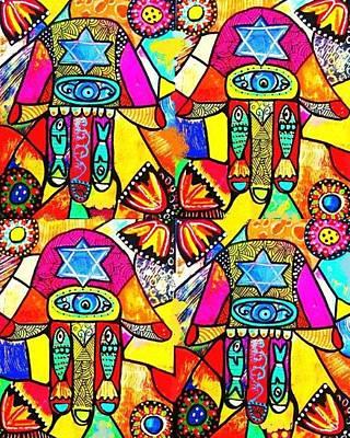 Hanukkah Digital Art - Judaica Hamsa Flower Tapestry by Sandra Silberzweig