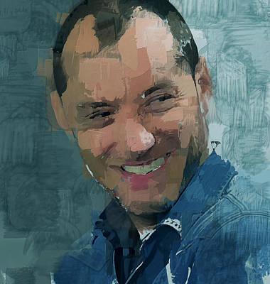 Digital Art - Jude Law Portrait 2 by Yury Malkov