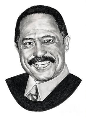 Famous People Portrait Drawing - Judge Joe Brown by Murphy Elliott