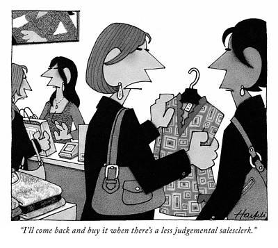 Drawing - Judgemental Sales Clerk by William Haefeli