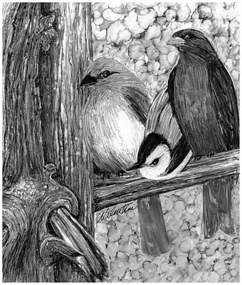 Blue And Gray Drawing - Judging Beauty by Charles Valentine