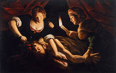 Painting - Judith Cutting Off The Head Of Holofernes by Trophime Bigot