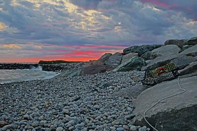 Photograph - Judith Point Breakwater Narragansett Rhode Island Ri Sunet by Toby McGuire