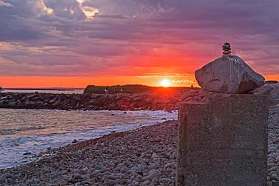 Photograph - Judith Point Rock Cairn Narragansett Rhode Island Ri by Toby McGuire