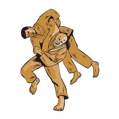 Judo Combatants Throw Front Etching Art Print
