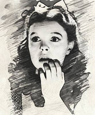 Musicians Drawings Rights Managed Images - Judy Garland as Dorothy Royalty-Free Image by John Springfield