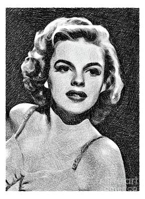 Musicians Drawings - Judy Garland, Vintage Actress by JS by John Springfield