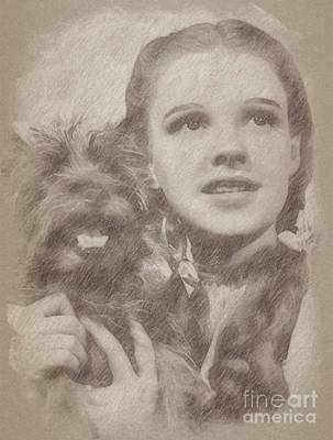 Fantasy Drawings - Judy Garland Vintage Hollywood Actress as Dorothy in The Wizard of Oz by Frank Falcon