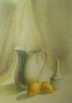 Drawing - Jug With Lemons by Lynn Hughes