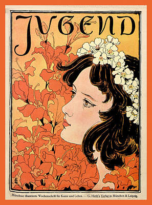 Painting - Orange Flowers Jugend Magazine Cover  by Jugend Magazine