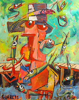 Big Fish Painting - Juggling Lies In Fishy Water by Charlie Spear