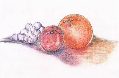 Blueberry Drawing - Juicy Fruits by Teresa White