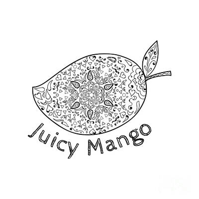 Juicy Mango Black And White Mandala  Art Print