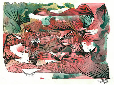 Drawing - Juicy Waves by Julia Zoellner