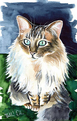 Painting - Juju - Cashmere Bengal Cat Painting by Dora Hathazi Mendes