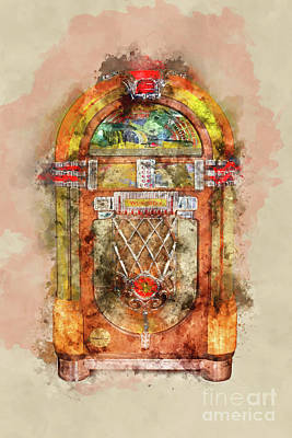Musician Royalty-Free and Rights-Managed Images - Jukebox watercolor by Delphimages Photo Creations