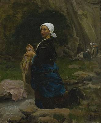Circle Painting - Jules Breton Washerwoman In Brittany 1865 by Celestial Images