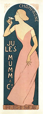 Curated Beach Towels - Jules Mumm and co - Wine - Vintage Advertising Poster by Studio Grafiikka