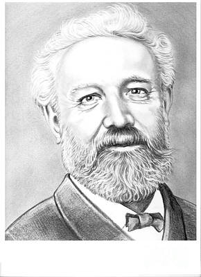 Person Drawing - Jules Verne by Murphy Elliott