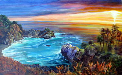 Painting - Julia Pfeiffer Beach by LaVonne Hand