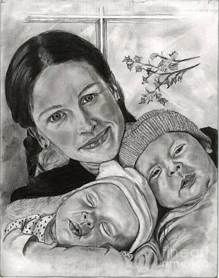 Annette Kinship Wall Art - Drawing - Julia Roberts And The Twins by Annette Kinship