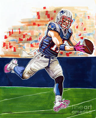 Gillette Stadium Drawing - Julian Edelman by Dave Olsen
