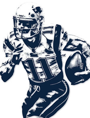 Julian Edelman New England Patriots Pixel Art 2 Art Print by Joe Hamilton