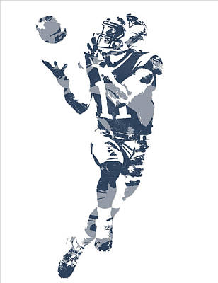 Mixed Media - Julian Edelman New England Patriots Pixel Art 21 by Joe Hamilton