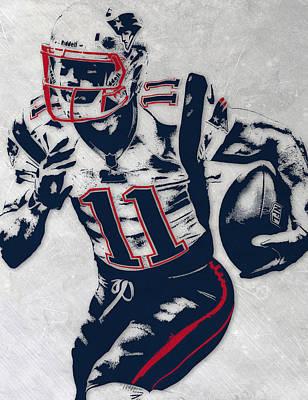 England Mixed Media - Julian Edelman New England Patriots Pixel Art 4 by Joe Hamilton
