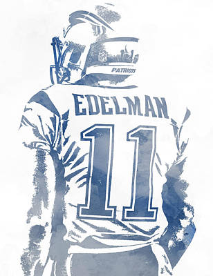Mixed Media - Julian Edelman New England Patriots Water Color Pixel Art 2 by Joe Hamilton