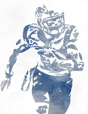 Mixed Media - Julian Edelman New England Patriots Water Color Pixel Art 3 by Joe Hamilton