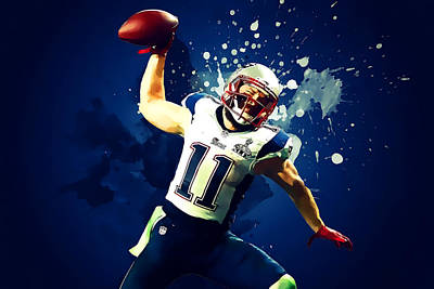 Dolphins Digital Art - Julian Edelman by Semih Yurdabak